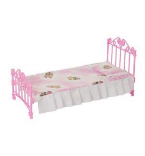 Мебель для куклы  Кроватка розовая с постельным бельем Огонек