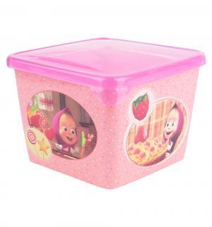 Контейнер  с прозрачной крышкой, цвет: розовый Маша и Медведь
