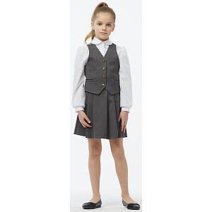 Комплект: жилет и юбка для девочки Смена. Цвет: серый