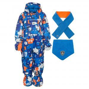 Комплект (комбинезон, шарф и манишка) DEUX PAR. Цвет: синий