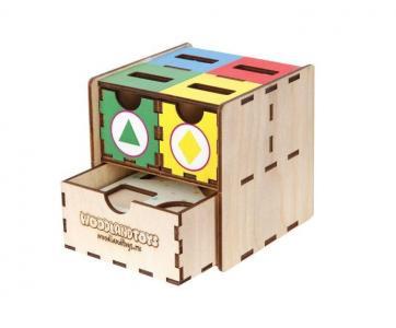 Деревянная игрушка  Комодик-куб Фигуры цвет Woodland