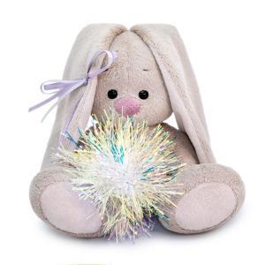 Мягкая игрушка  Зайка Ми с новогодней подвеской 15 см цвет: серый/розовый Budi Basa