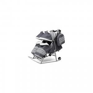 Санки-коляска для двойни  2В Твин Скандинавия на серой раме, серый ABC Academy. Цвет: серый