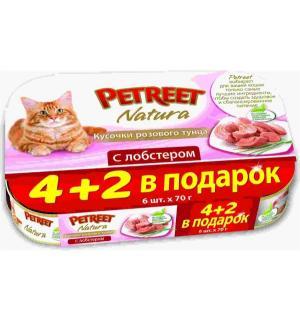 Влажный корм  для взрослых кошек, кусочки розового тунца с лобстером, 70г*4шт+2шт в подарок Petreet