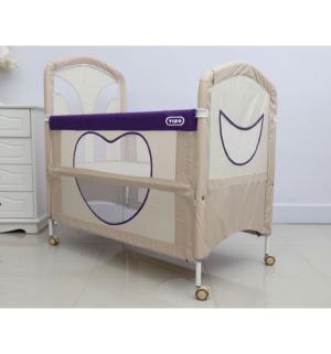 Кроватка-манеж  Be Happy, цвет: бежевый/фиолетовый Tizo
