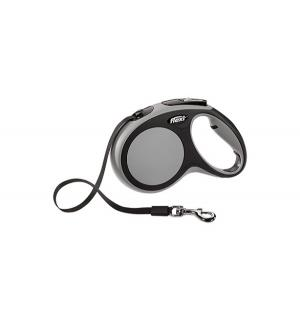 Рулетка New Comfort тросовая М, 5м, до 20 кг, цвет: черный/серый Flexi