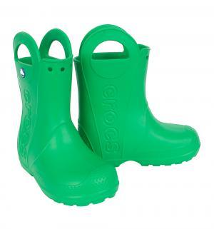 Резиновые сапоги  Handle It Rain Boot Kids, цвет: зеленый Crocs