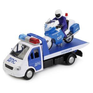 Набор машин  Полиция, газель эвакуатор, мотоцикл Технопарк