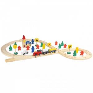 Деревянная игрушка  Железная дорога 48 деталей Фабрика фантазий
