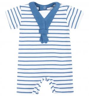 Полукомбинезон  Веселая полосочка, цвет: белый/синий Осьминожка