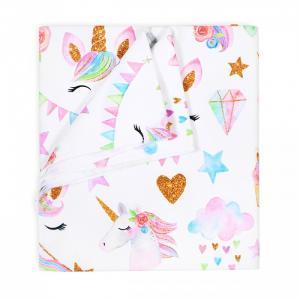 Пеленка  трикотажная Розовые единорожки 100х92 см GlorYes