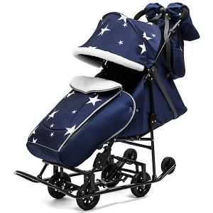 Санки-коляска  Pikate Авто Звезды на чёрной раме, синий ABC Academy. Цвет: синий