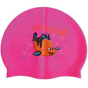 Силиконовая шапочка для плавания , с рисунком, розовая Dobest