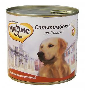 Влажный корм  для взрослых собак, сальтимбокка по-римски (телятина/ветчина), 600г Мнямс