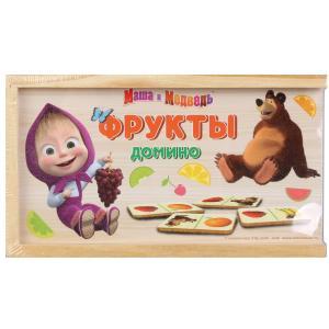 , Игрушка деревянная Маша и Медведь домино в пленке Буратино