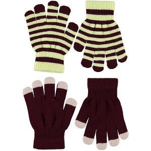 Перчатки , 2 пары Molo. Цвет: бордовый