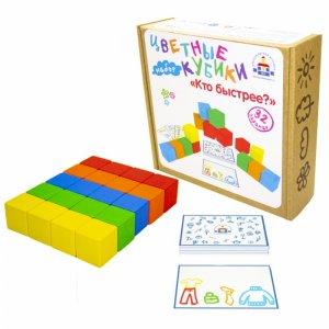 Деревянная игрушка  Цветные кубики Кто быстрее? с карточками Краснокамская