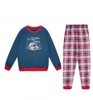 Пижама джемпер/брюки  Ambulance, цвет: синий/красный Cornette