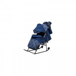 Санки-коляска  Зимняя сказка 3В Авто, черная рама, синий/зоопарк ABC Academy. Цвет: синий