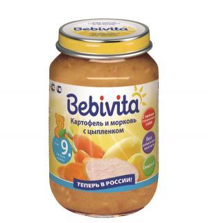 Пюре  картофель и морковь с цыпленком 9 месяцев, 190 г Bebivita