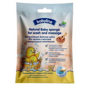 Губка  детская с минеральным комплексом для мытья и массажа Babyline