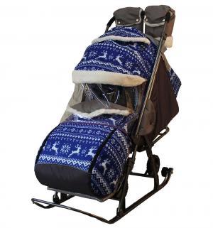 Санки-коляска  Зимняя ночь, цвет: олени на синем Galaxy