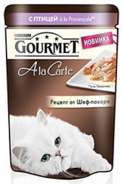 Корм влажный  A la Carte для взрослых кошек, домашняя птица, 85г Gourmet