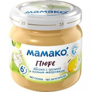 Пюре  яблоко-груша-козий творог с 6 месяцев, 80 г Мамако