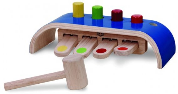 Деревянная игрушка  Набор с цилиндрами и молоточком Wonderworld