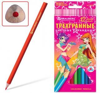 Карандаши цветные  трехгранные Pretty Girls Brauberg