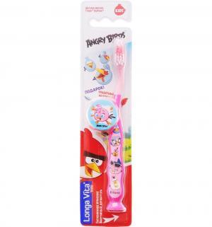 Зубная щетка  Angry birds с защитным колпачком, цвет: розовый Longa Vita