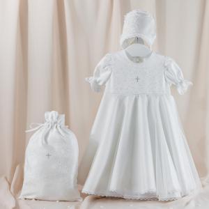 Комплект для крещения девочки (платье, чепчик, мешочек) Pituso
