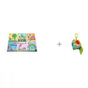 Игровой коврик  Парк сов 180х120 см и Подвесная игрушка Forest Яркий Кубик Mambobaby