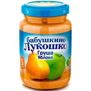 Пюре  в баночке яблоко-груша с 5 месяцев, 200 г Бабушкино лукошко