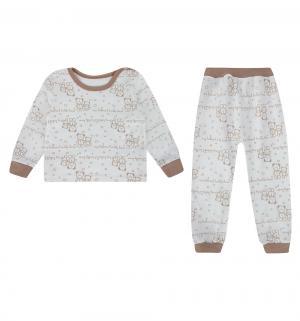 Пижама джемпер/брюки , цвет: белый/коричневый Mamatti