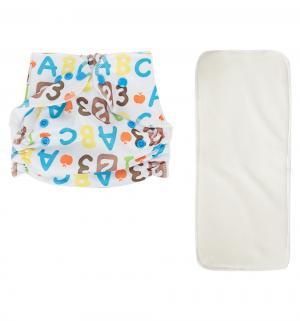 Подгузник  многоразовый Premium Care + 1 вкладыш Белый/Буквы и цифры (3-16 кг) шт. Bamboola