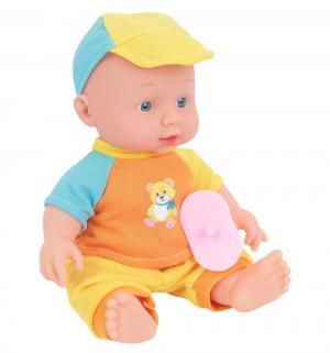Пупс  в желто-голубой кепке 25 см Карапуз