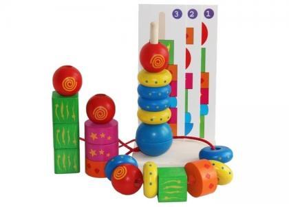 Деревянная игрушка  Пирамидка Геометрическая фантазия Краснокамская