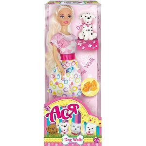 Кукла  Прогулка со щенком Ася, 28 см Toys Lab. Цвет: розовый