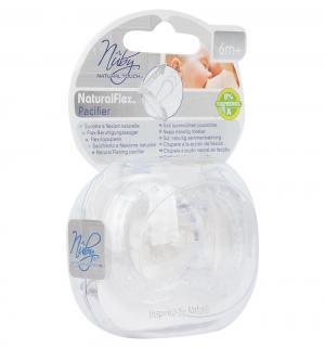 Соска-пустышка  Natural Flex вентилируемая силикон, с 6 мес, цвет: белый Nuby