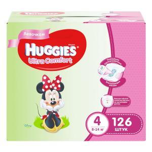 Подгузники  Ultra Comfort 4 для девочек (8-14 кг) 126 шт. Huggies