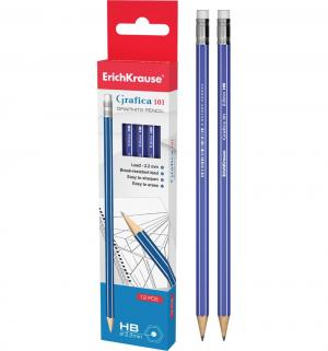 Набор чернографитных карандашей HB  12 шт. Grafica 101 с ластиком Erich Krause