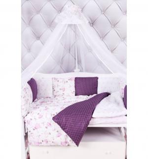 Комплект постельного белья  Амели premium, цвет: бордовый/белый 18 предметов Amarobaby