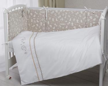 Комплект в кроватку  Зверюшки из сатина (6 предметов) Perina