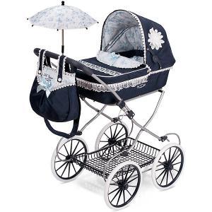 Коляска для кукол  Романтик с сумкой и зонтиком, 81 см DeCuevas. Цвет: atlantikblau