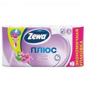 Туалетная бумага 2-х слойная сирень  Plus, 8 шт Zewa