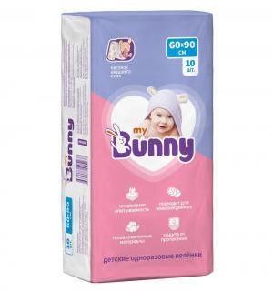 Пеленки  впитывающие одноразовые с рисунком 60х90 см, 10 шт My Bunny
