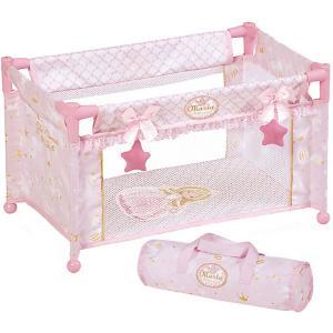 Манеж-кроватка для кукол  Мария, 50 см DeCuevas. Цвет: розовый/белый