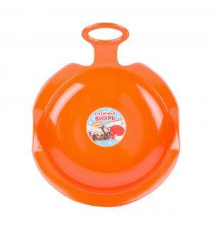 Санки  Снежный вихрь, цвет: оранжевый Пластик