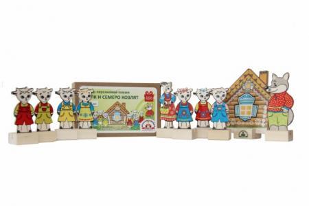 Деревянная игрушка  Набор Персонажи сказки Волк и семеро козлят картонная коробка Краснокамская